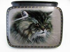 Russian Fedoskino Lacquer Box A Cat Portrait