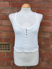 Ladies ASOS Cream White Crochet Knitted Cami Vest Top Casual Boho Summer 8 UK