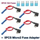 5 Sets Micro2 Fuse Tap Add-A-Circuit Piggy Back Holder 12V Car Adapter Micro ATM