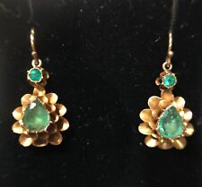LOVELY VICTORIAN ANTIQUE GOLD & EMERALD EARRINGS