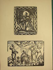 Antigua xilografía impresión ~ St David ~ Imagen Religiosa San siendo apedreado