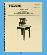 """Rockwell / Delta 12"""" Radial Arm Saw Operator and Parts List Manual  * 876"""