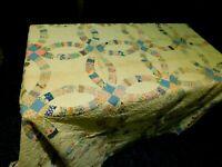 "Antique Vintage Cotton Calico Wedding Ring Quilt 70"" x 82"""