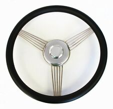 "14"" Black Banjo Steering Wheel to fit Ididit Steering Column SS Center Cap"