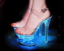 Chic Light up High Heel LED Transparent Platform High Heel  Ankle Strap Sandals