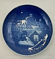 "Bing Grondahl Blue & White 1977 Jule After 7"" Plate Copenhagen Christmas w/box"