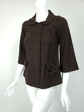 MARC MARC JACOBS Dark Brown Wool Knit Snap Front Sweater Jacket sz XS