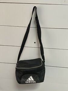 "ADIDAS Unisex Insulated Lunch Box Bag BLACK w/White Stripes 9""x7""x5"""