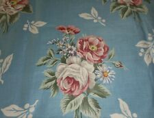 Antique Vintage Cottage Roses Cotton Fabric ~ Blue Rose Soft Green