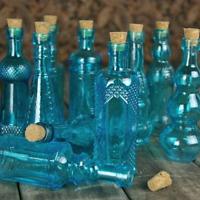 Vintage Glass Bottles with Corks, Bud Vases, Assorted Shapes, 5 Inch Tall, Set