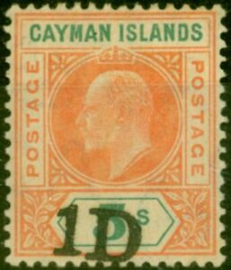 Cayman Islands 1907 1d on 5s Salmon & Green SG19 Good Mtd Mint
