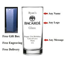 Personalised Highball Bacardi Glass, Birthday Gift,18th 21st 30th 40th 50th 60th