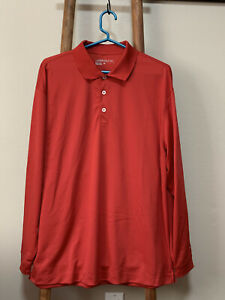 Nike Golf Dri Fit Red Long Sleeve Polo Shirt Mens size Large