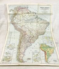 1950 Vintage Map of South America Physical Continental National Geographic