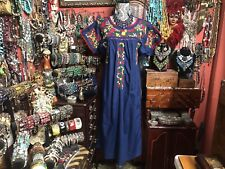 Beautiful Vintage Navy Blue Oaxacan Mexican Multi Embroidery Dress Size L/Xl
