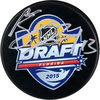Mathew Barzal New York Islanders Autographed 2015 NHL Draft Logo Hockey Puck