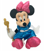 """Rare Minnie Mouse Plush With Music Note Wand Disney Parks 20"""" Blue Dress"""