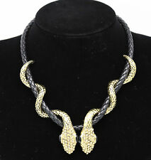New Summer Women Exaggeration Double Gold Snake Chunky Choker Necklace Jewelry