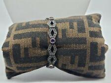 Vintage Sterling Silver Judith Jack Marcasite Multi Gemstone Link Bracelet
