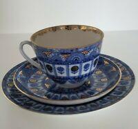 Vtg 3 Pcs Lomonosov Cobalt Blue Gold Tea Cup Saucer Dessert Plate Made in Russia