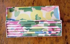 Pencil Box w 6 Pencils in Stamp Case Paper Covered Floral Vintage Two's Co 1970s