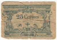 Vintage France 25 Centimes Banknote Circulated