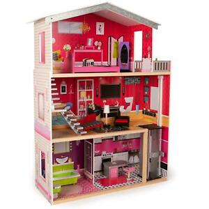 boppi Large Wooden Dolls House Barbie Size with Lift and 10 Play Accessories New