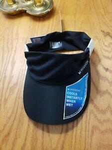 MISSION Cooling Stretchy Visor- Lightweight, No Slip Band,Black UPF 50 NWT