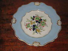 REAL STONE CHINA PLATE LIGHT BLUE BORDER RELIEF FLOWERHEADS POLYCHROME