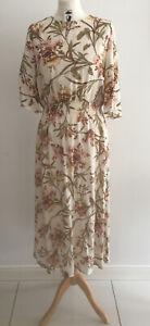 new Ladies H&M Cream Floral Tea Midi Dress UK SIZE 12