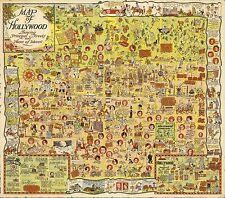 Hollywood California Harrison Godwin 1928 Antique Map POSTER 10004000