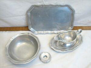Wilton Pewter Serving pcs Tray Platter Plate Queen Anne Napkin Ring Gravy Boat