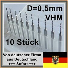 VHM Bohrer-Set 10 Stk. 0,5mm, Hartmetall, Platinenbohrer für Dremel, Proxxon