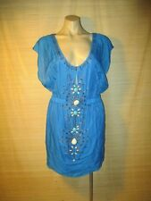 SEDUCE cobalt BLUE  beaded Summer mini kaftan Dress long TOP sz 10