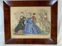 1867 Gorgeous Antique Godey's Handcolored Fashion Print Old Antique Frame d767