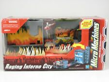 Micro Machines RAGING INFERNO CITY Bridge Roadway Car Helicopter Play Set  NEW