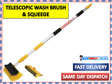 Water Fed Extendable Telescopic Pole Wash Brush & Squeegee 3m Long Cleaner 2840