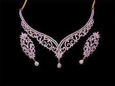 Simulated Cubic Diamond Designer Choker Wedding Necklace Earrings Set 606 0N 98