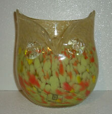 "Art Glass Owl Vase 7.25"" Yellow New With Tag Hand Blown Spatter"
