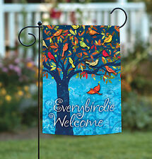 New Toland - Everybirdie Welcome - Cute Colorful Tree Leaves Bird Garden Flag