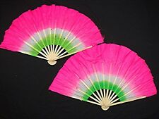 "2 CHINESE 16"" PINK GREEN DANCE HAND FAN WAVY EDGE SPECIAL EFFECT STAGE PARTY"