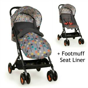 Cosatto Woosh Special Edition Stroller with Footmuff - Pom Pom Grey Compact fold