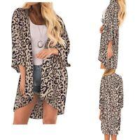 Women Leopard Print Casual Blouse Tops Kimono Bikini Cardigans Capes Cover Smock