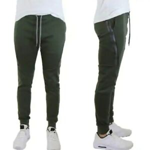 Galaxy By Harvic Men's Tech Fleece Joggers W/ Zipper Pockets (Green, S)