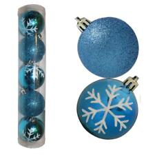 Christmas Decoration 5 Pack 60mm Snowflake & Glitter Baubles - Blue