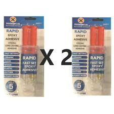 2x Epoxy Resin Adhesive - Fast Setting - Glass Plastic Wood Metal Ceramic -2 pcs