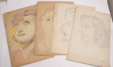 "Female Studies Pencil Chalk Sketch Collection 10x14"" Donald Bevan - VINTAGE A01B"