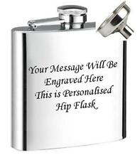 ENGRAVED STEEL HIP FLASK 6OZ  WEDDING GIFT +free fannel