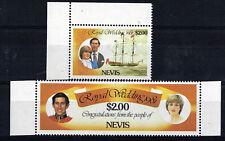 NEVIS 1981 ROYAL WEDDING $2 PAIR WITH SCARCE ALBINO OVERPRINT MNH