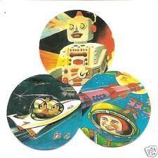 3 Ciencia Ficción Insignias. Pop Art, Retro, 60's, Juguete robots.